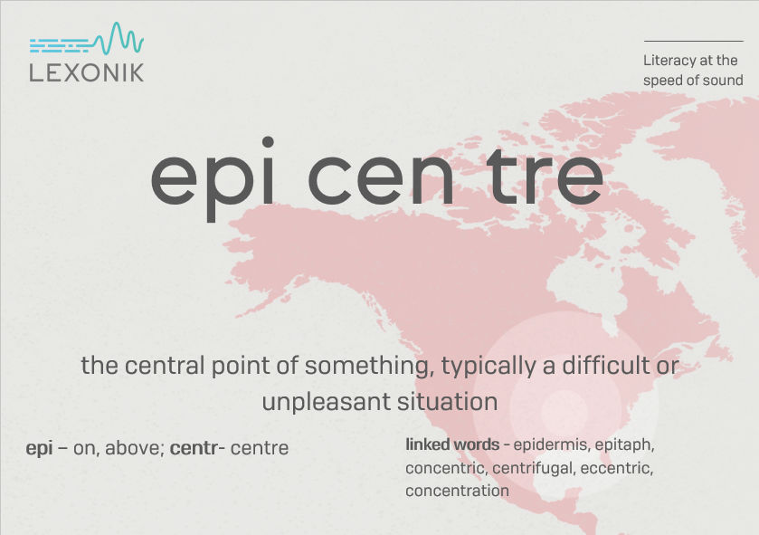 morphemic analysis of the word epicentre