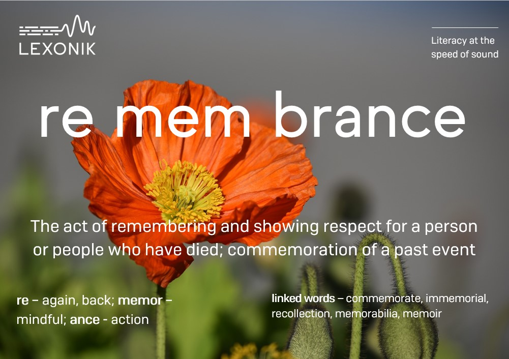 morphemic analysis of the word remembrance